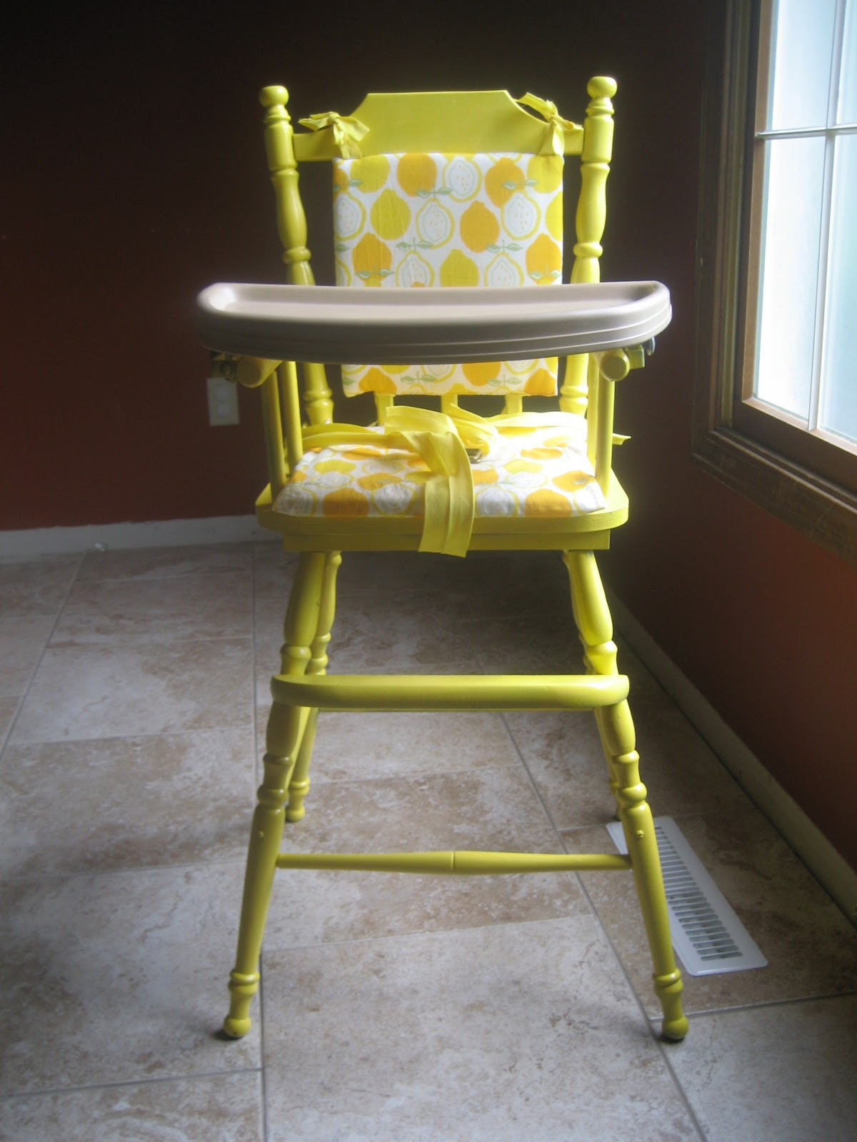 high chair cushion for wooden chairs foam fold out bed the shiny side a little lemon whimsy