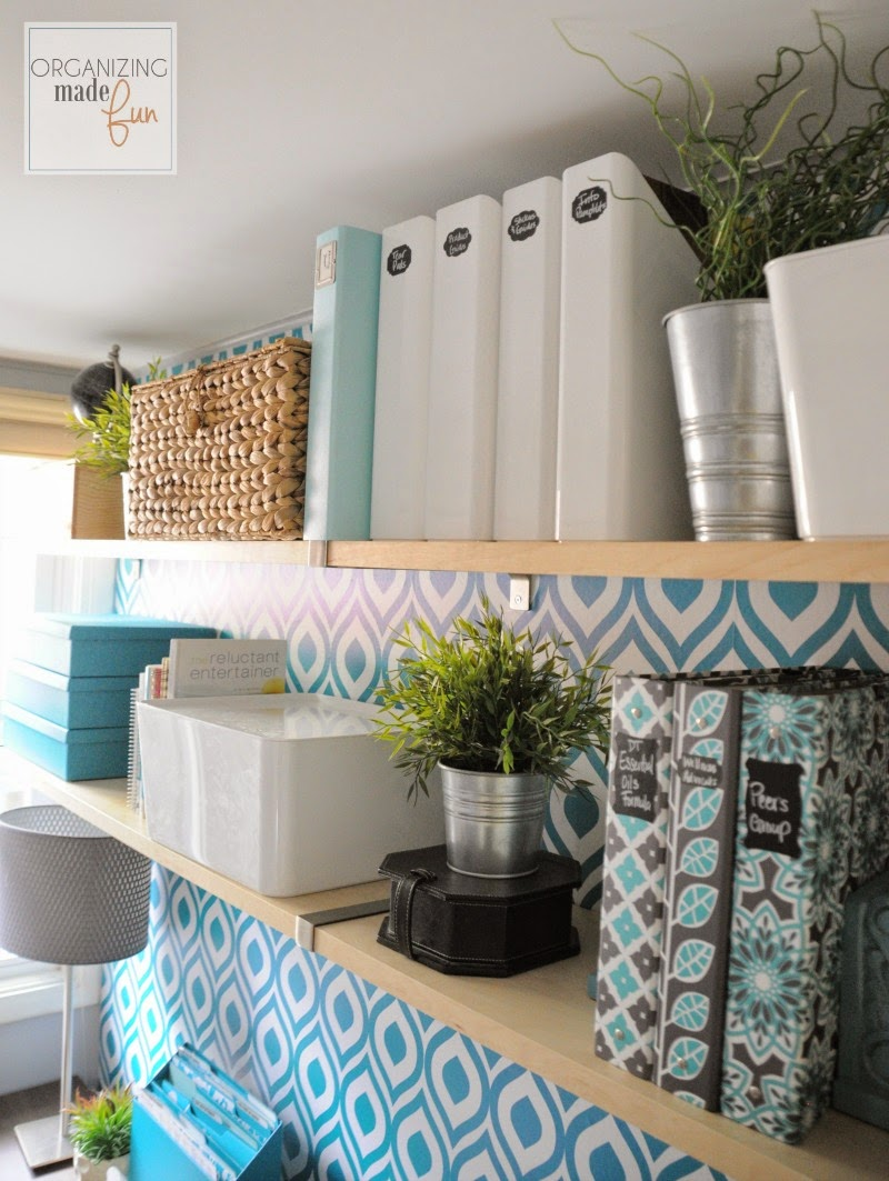 Open Shelving look beautiful in home office :: OrganizingMadeFun.com