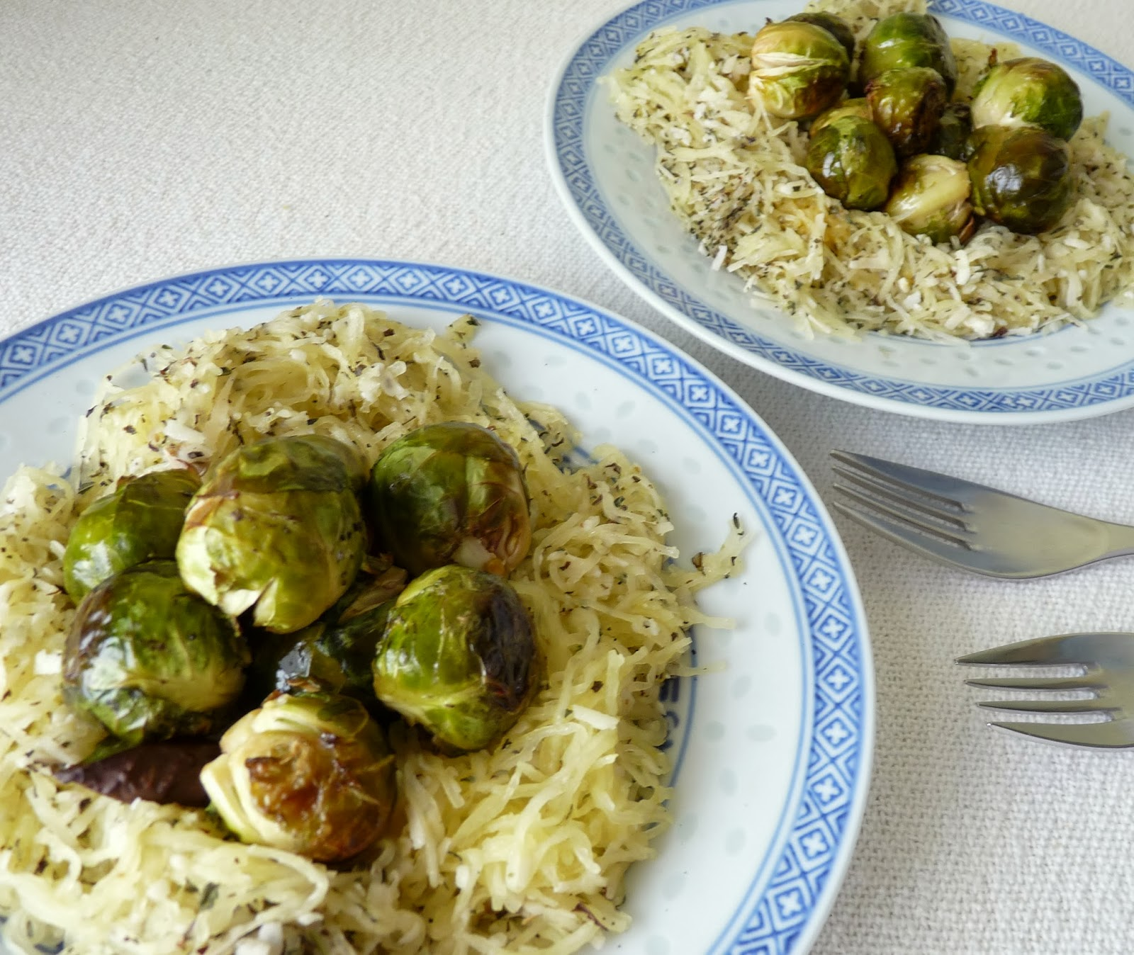 Roasted Brussels Sprouts in Spaghetti Squash Nests