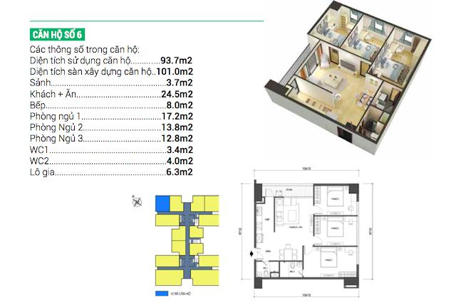 Thiết kế căn hộ 06 chung cư Housinco Grand Tower