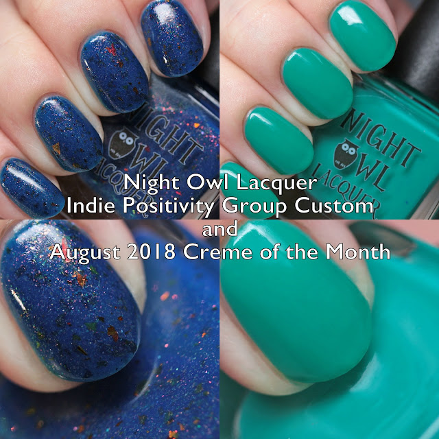 Night Owl Lacquer Indie Positivity Group Custom and August 2018 Creme of the Month