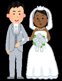 国際結婚をしたカップルのイラスト(白人・黒人)