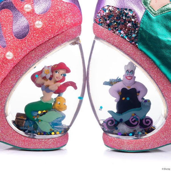 waterglobe heels on shoes with ariel and ursula figures inside