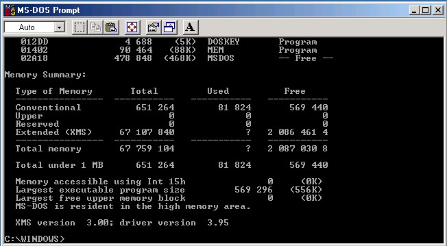 ems unavailable at ms dos prompt in standard mode