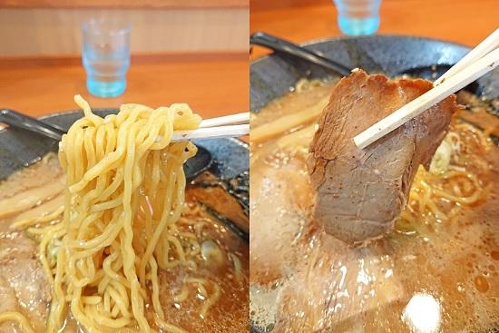 とんこつラーメンの麺とチャーシューの写真