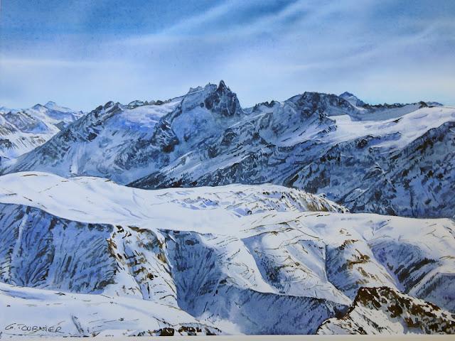#Aquarelle montagne#les Ecrins
