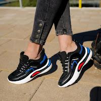 Pantofi sport negri de dama cu talpa groasa