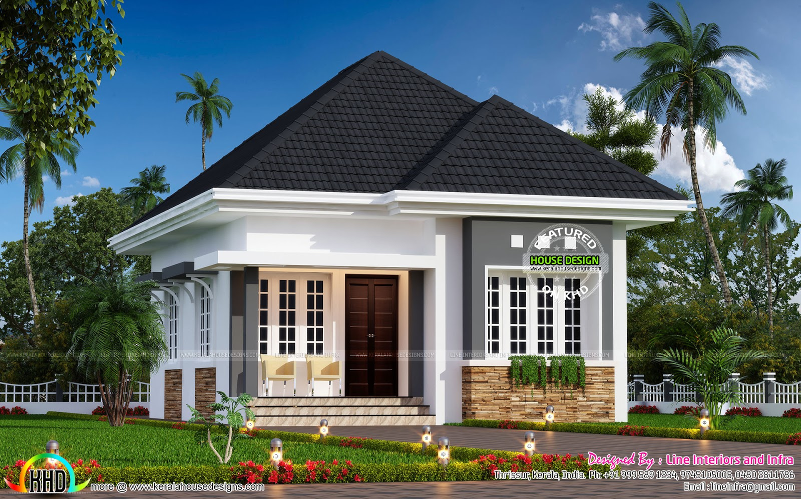 Cute little small house plan kerala home design and for Beautiful small home pictures