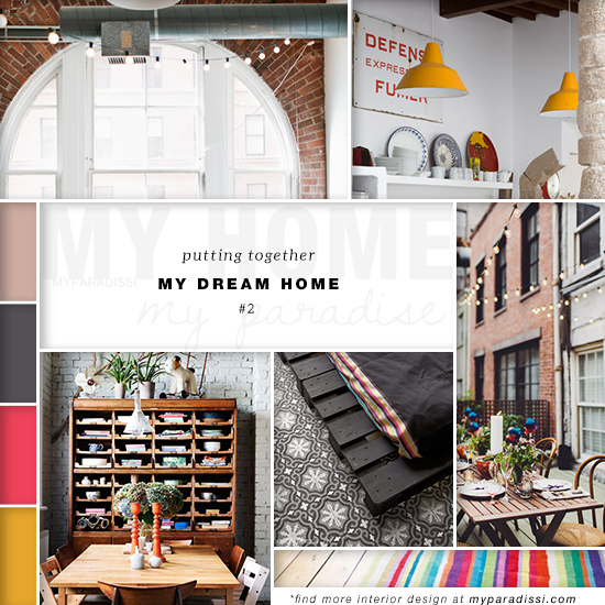 A style board collage of my favorite interiors with a colorful industrial vibe as a single dream home inspiration.