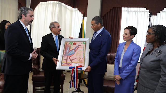 Presidente Danilo Medina realiza visita de cortesía a primer ministro de Jamaica, Andrew Holness