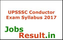 UPSSSC Conductor Exam Syllabus 2017
