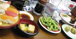 Sushi, agedashi tofu, edamame, gyoza