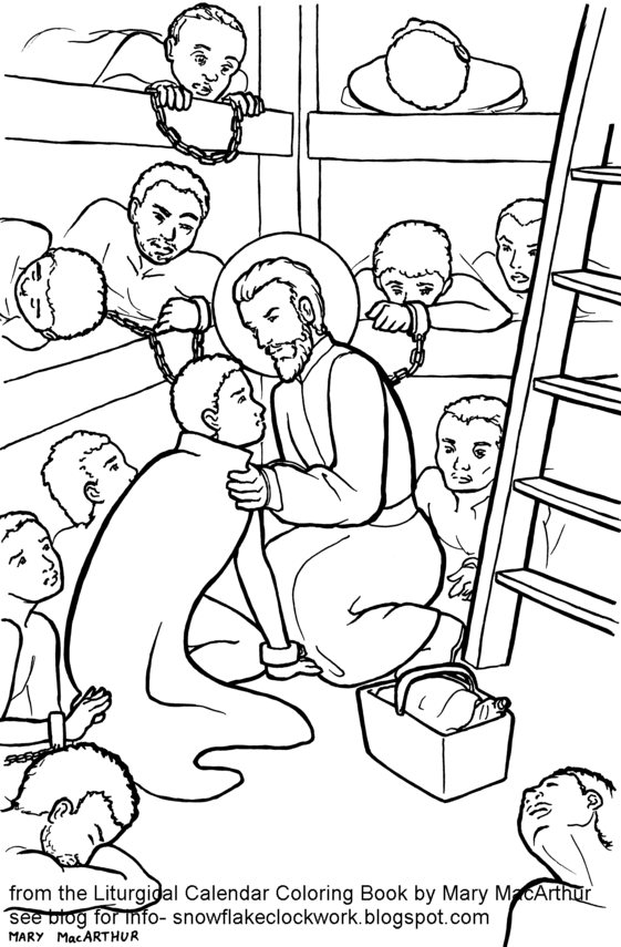 Snowflake Clockwork: St. Peter Claver coloring page