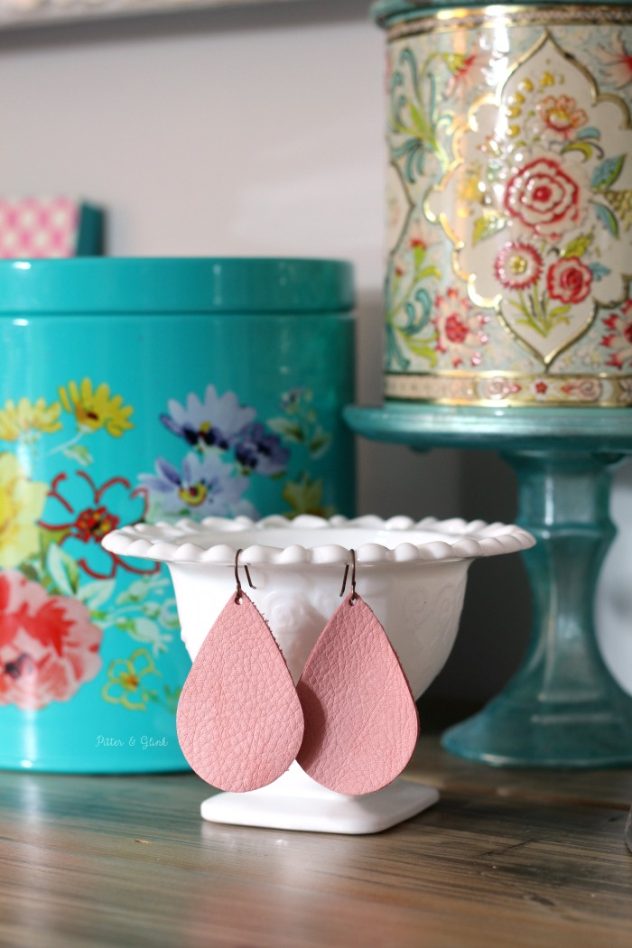 DIY Leather Teardrop Earrings Pink