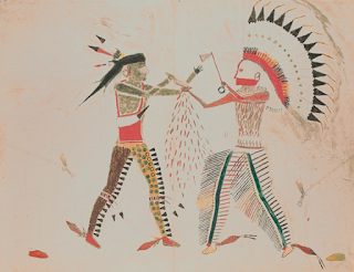 Mató-Tópe (Four Bears), Battle with a Cheyenne Chief, 1833, watercolor and pencil on paper, Joslyn Art Museum, 1986.49.384