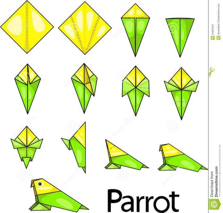 how to make a easy paper parrot step by step