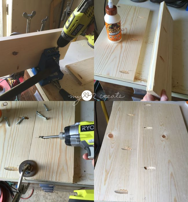 drilling pocket holes and attaching top and bottom boards together