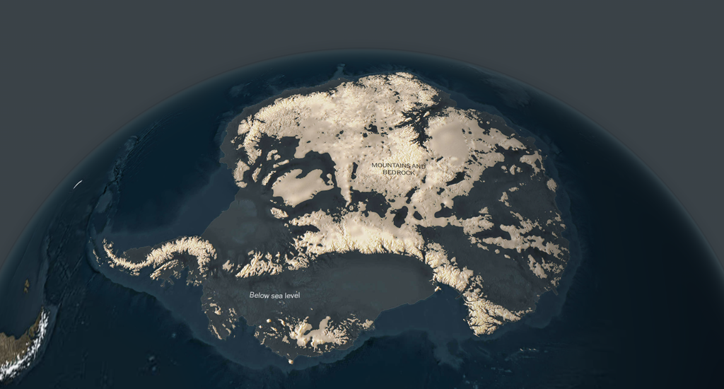 Antarctica with the ice removed