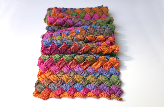 Scrunched Scarf Knit in Entrelac Stitch with Multicolor Wool