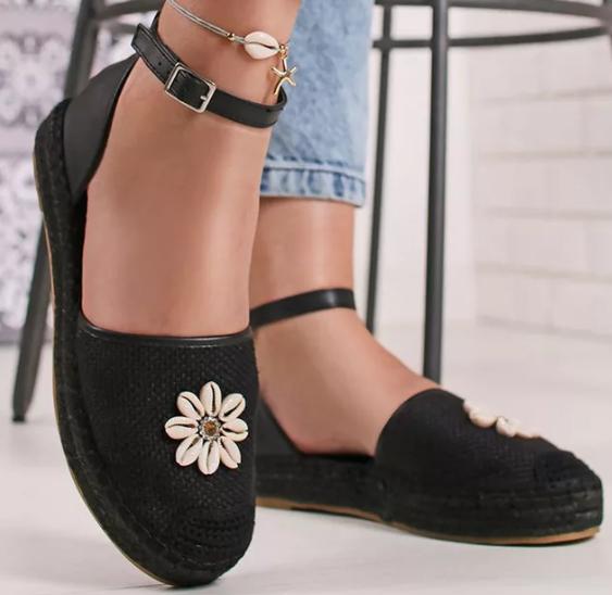 Espadrile dama negre decupate cu florare alba