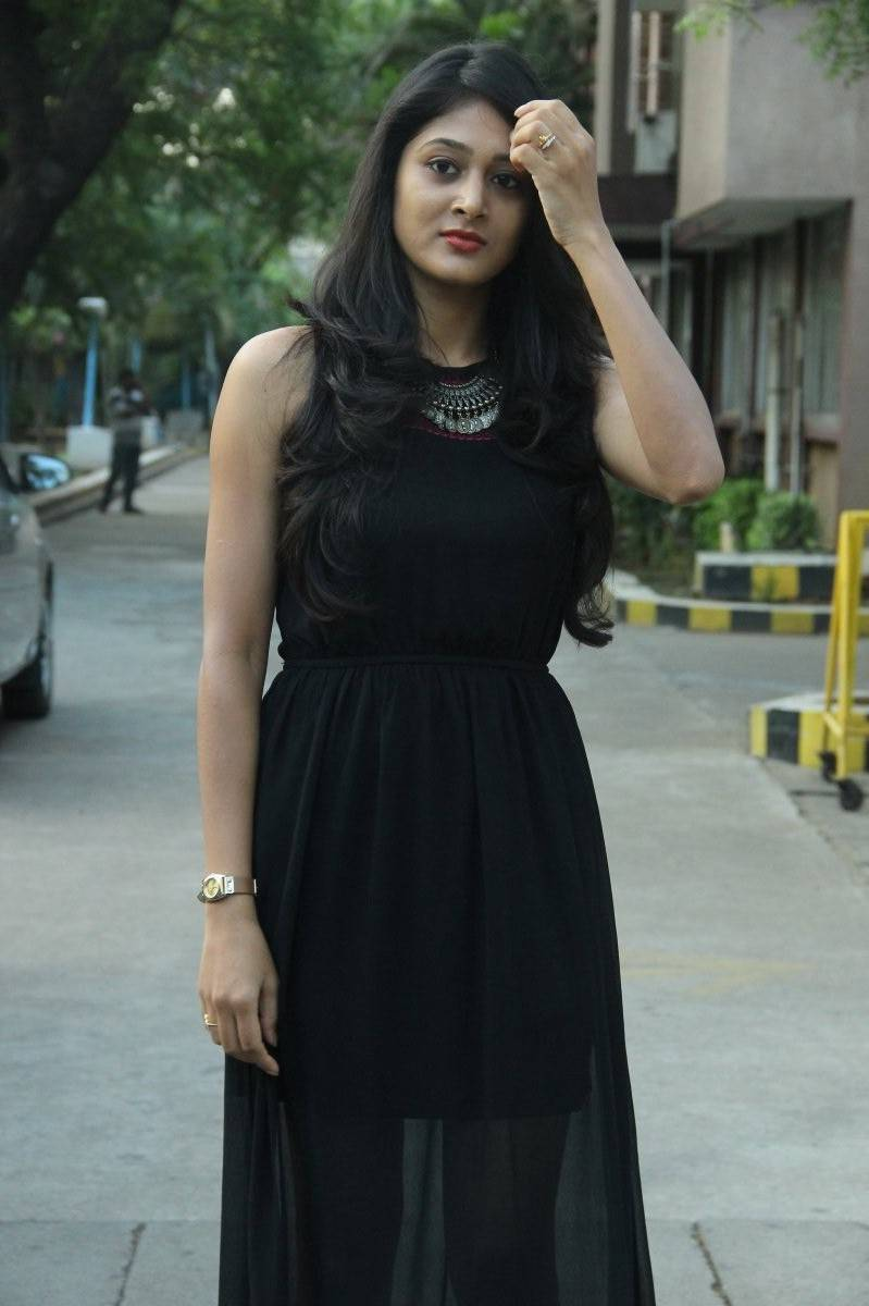 Telugu Actress Sushma Raj Hot Photo Shoot In Black Dress At Movie Press Meet