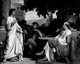 """Mio ritocco del quadro di Charles François Jalabert, """"Virgilio e Vario a casa di Mecenate"""". Immagine originaria tratta da http://laricerca.loescher.it"""