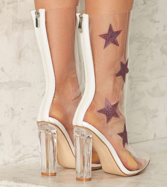 Stars Boots - See-Through Ankle Boots