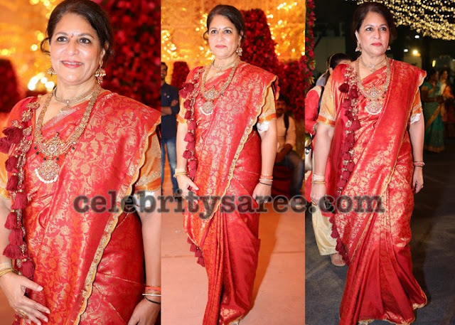 Shobhana Kamineni Red Kanchi Pattu Saree