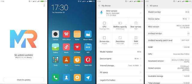 Penampilan MultiROM v7.11.16 di Xiaomi Mi 4c