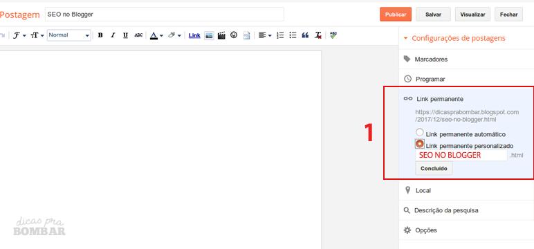 Configurando link de postagem