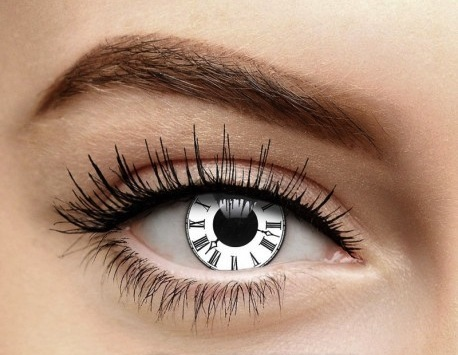 Black and white clock contact lenses with roman numeral numbers, steampunk contacts