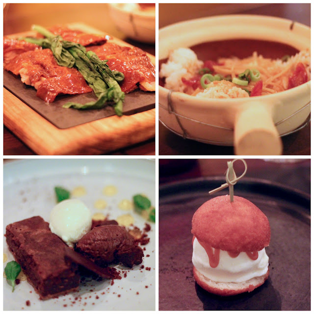 cantonese peking duck, clay pot rice, chocolate plate and mini Bao with coconut ice cream at CEN Celtic Manor's Asian infusion restaurant
