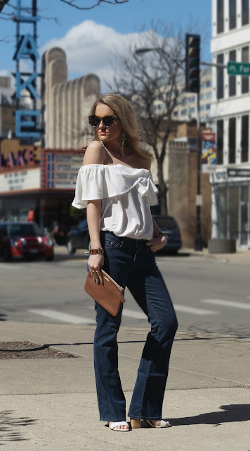 Ruffled white top for Spring