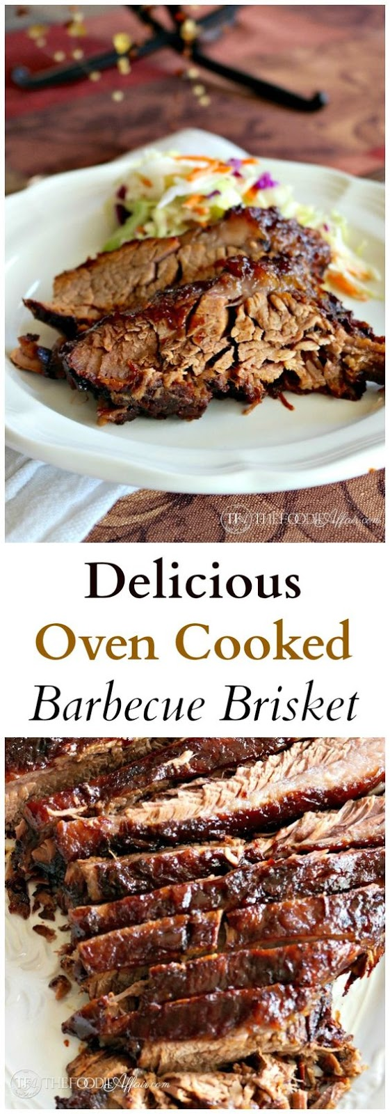 Full-flavored delicious Oven Cooked Barbecue Brisket marinated overnight, and then cooked on low heat yielding a smokey tender flavor!