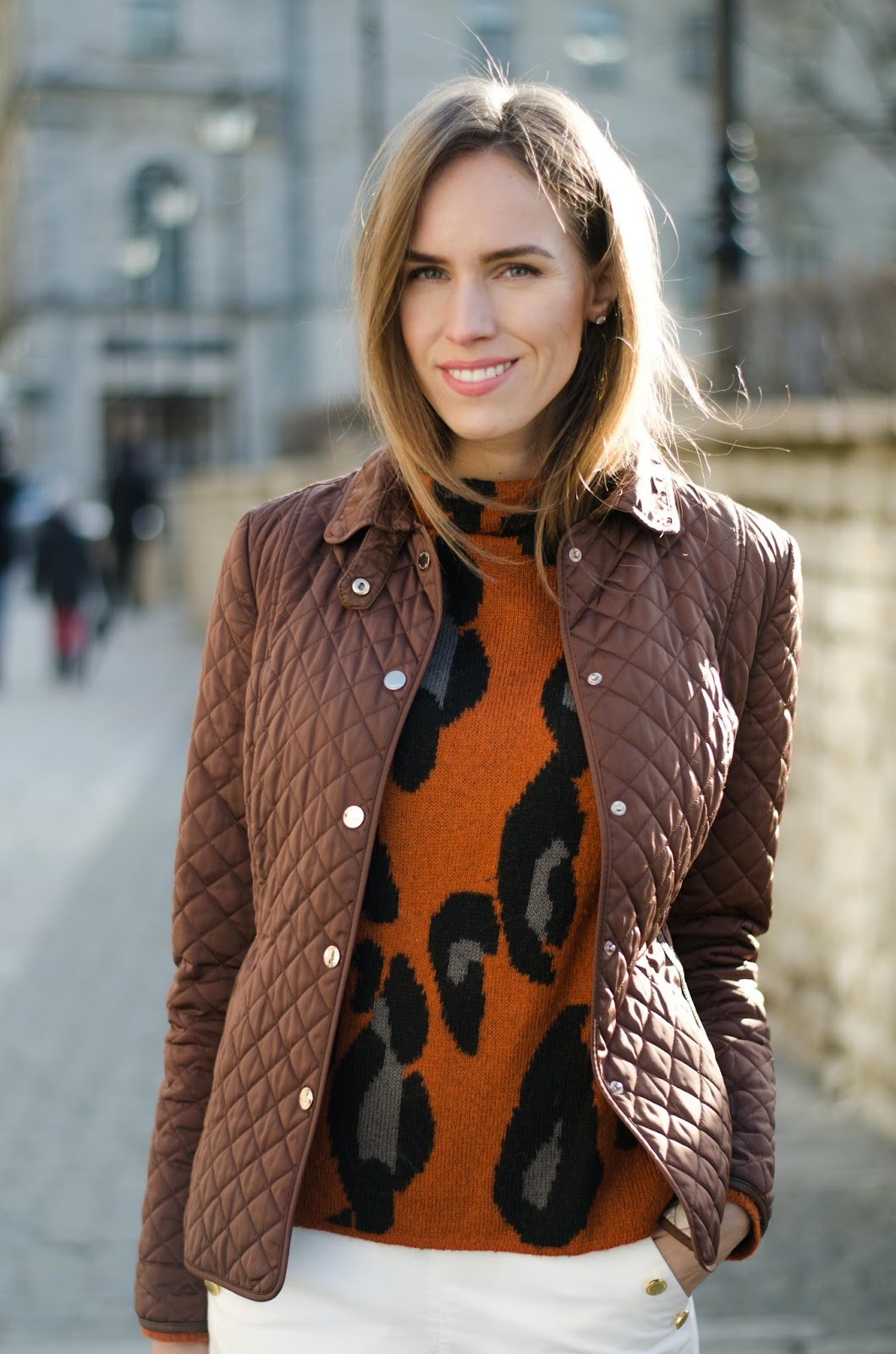 kristjaana mere massimo dutti brown quilted jacket leopard sweater