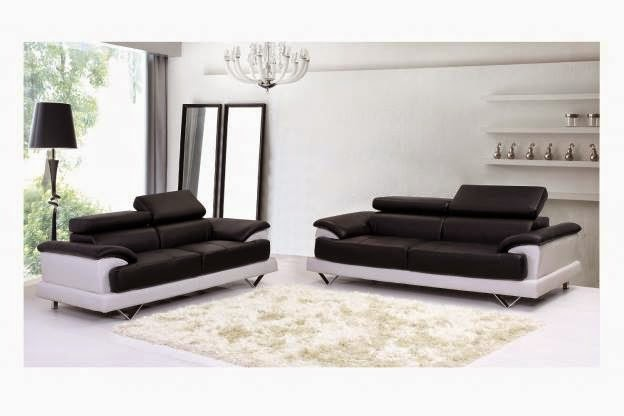 Black and white  Durable Leather Corner Sofa
