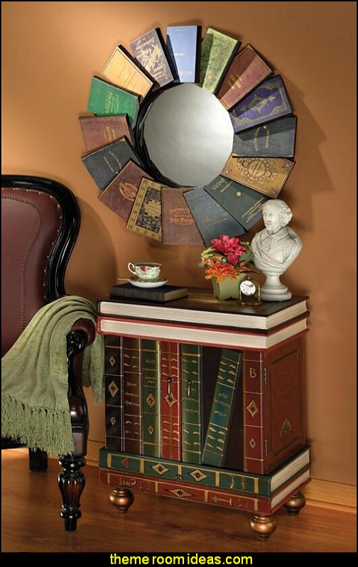 Lord Byron's Compendium of Books Metal Wall Mirror  book themed decor - Bibliophiles decor - Book themed furnishings - home decor for book lovers - book themed bedroom -  Stacked Books decor -  Stacked Books furniture - bookworm decor -  book boxes - library furniture - formal study furniture - antique book decor -