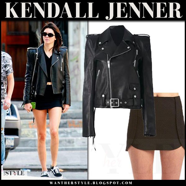 Kendall Jenner in black leather unravel jacket, black mini skirt and black sneakers vans old skool what she wore