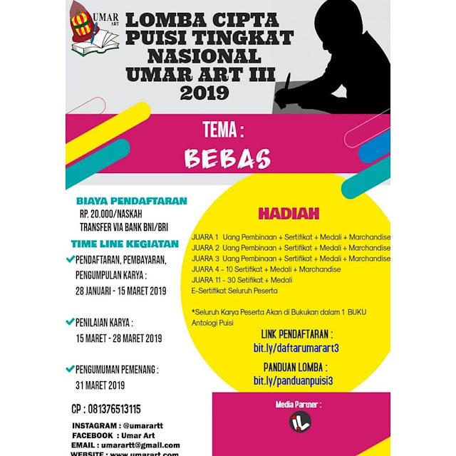 Lomba Cipta Puisi Nasional UMAR ART III 2019 Umum