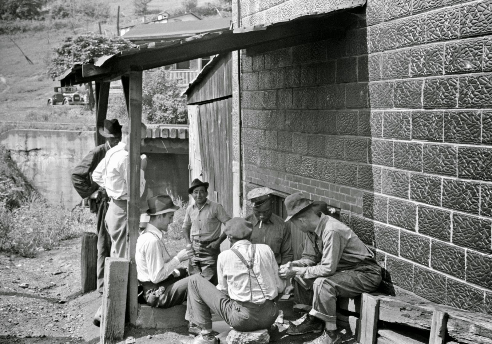 Card gambling in center of town