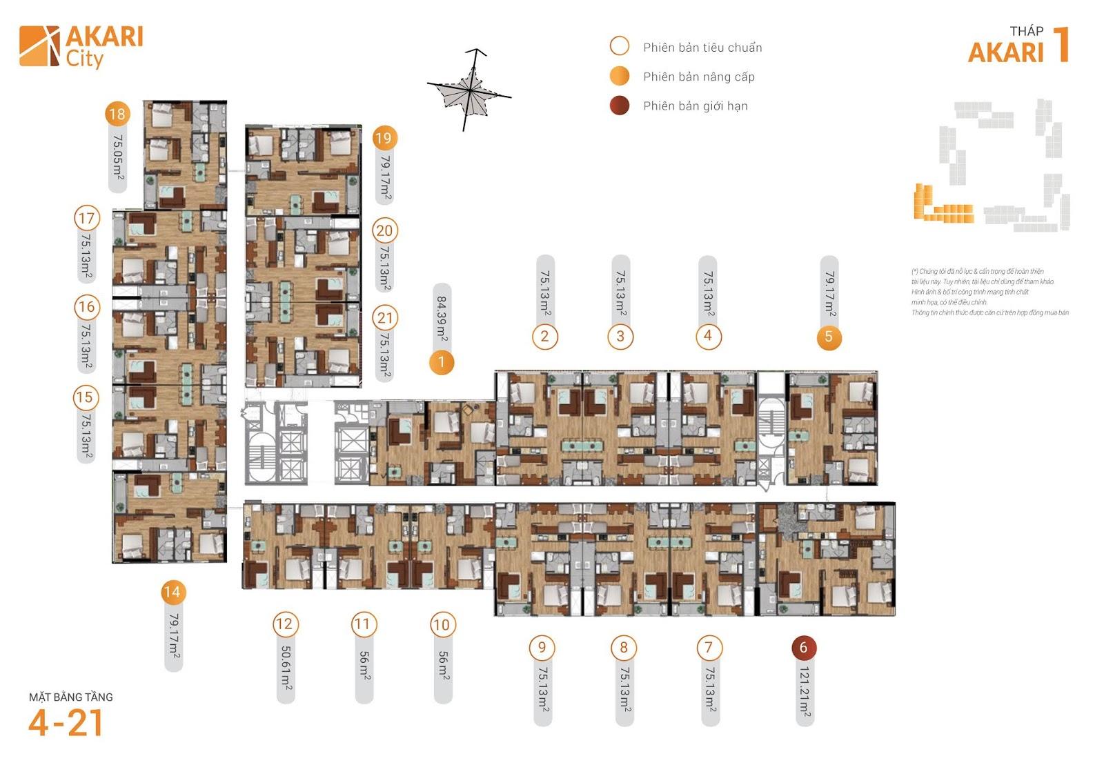 Mặt bằng Block Akari 1 - Tầng 4-21 - Khu đô thị Akari City