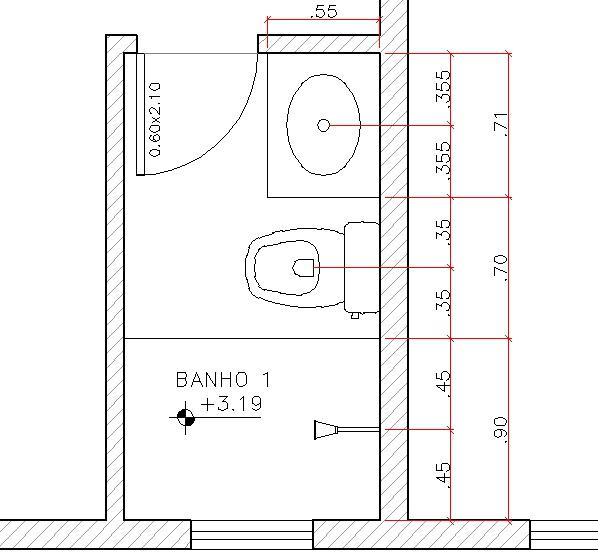 Colégio de Arquitetos  Teminologias Arquitetônicas -> Medida Minima Banheiro Com Banheira