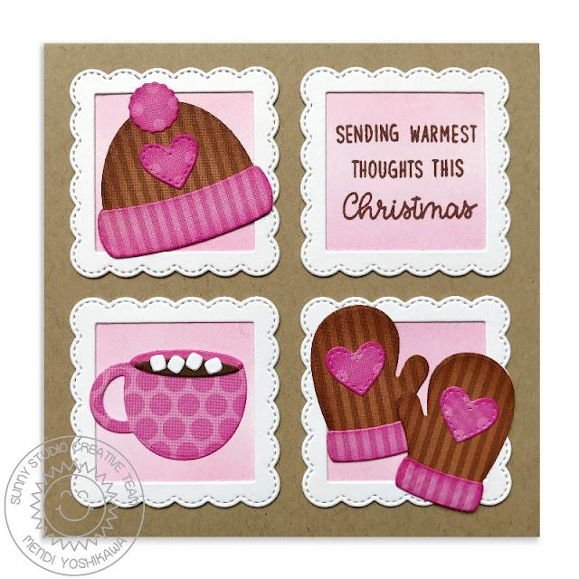 Sunny Studio Stamps: Warm & Cozy Winter Hat, Mittens & Hot Cocoa Christmas Card by Mendi Yoshikawa