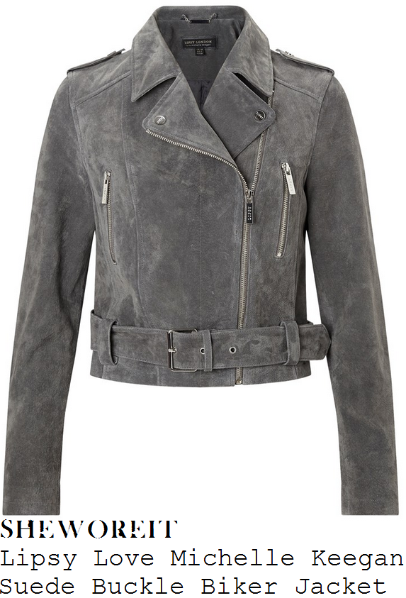 rosie-fortescue-grey-long-sleeve-buckle-detail-suede-biker-jacket-lipsy-michelle-keegan-aspinal-of-london-lfw