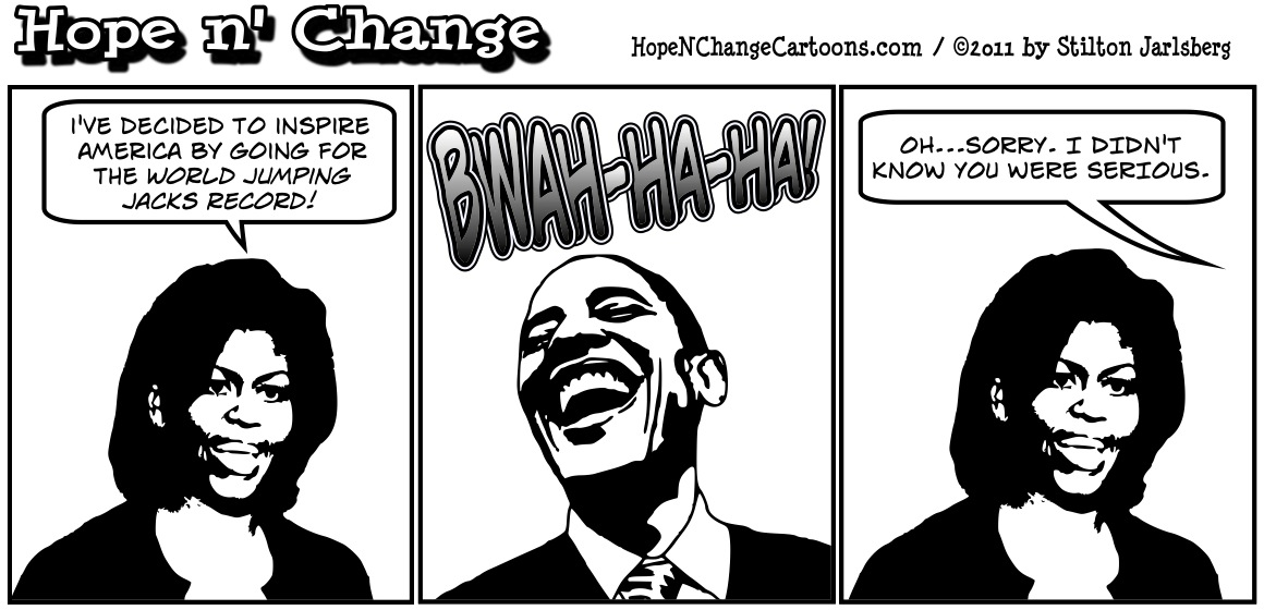 Michelle Obama attempts to break the world jumping jacks record, hopenchange, hope and change, hope n' change, political cartoon, stilton jarlsberg, tea party
