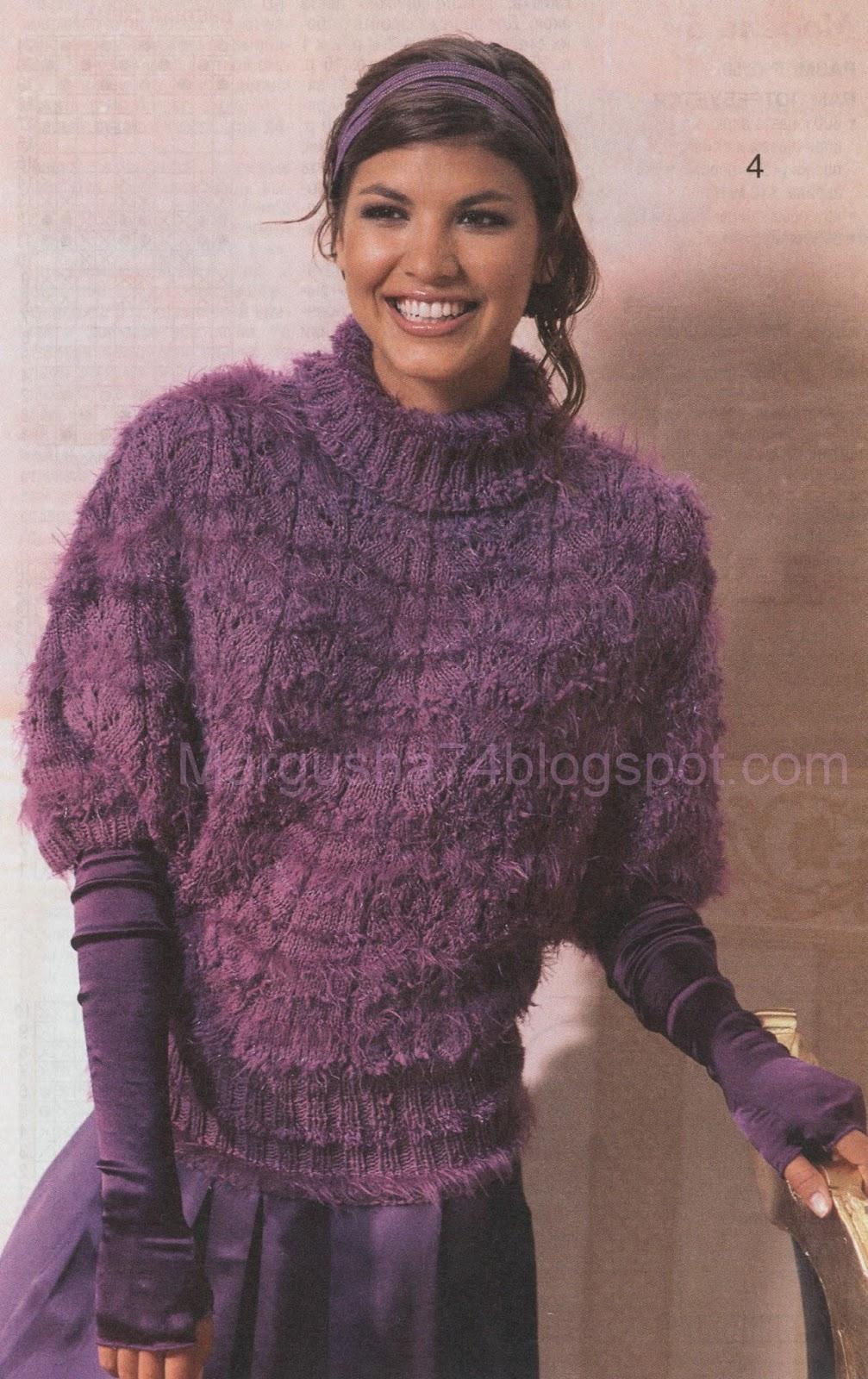 вязаный свитер свободного кроя с рукавом летучая мышь схема