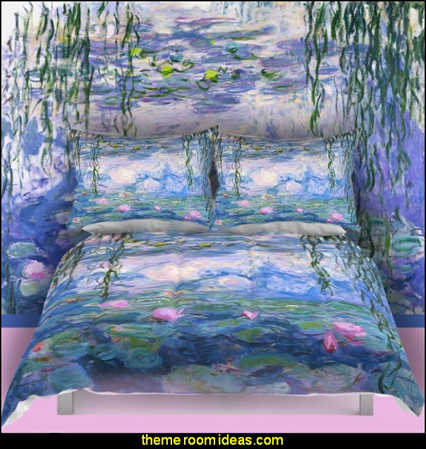 Water Lilies bedding  floral bedding - flowers pillows - floral duvet covers - Floral Bedding Sets - flower theme bedding - Floral Print Bedding - floral comforters - floral pillows