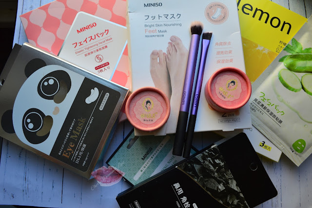 A Picture of Miniso Japan Eye and Face mask, makeup brushesh like the Real Techinique dupes