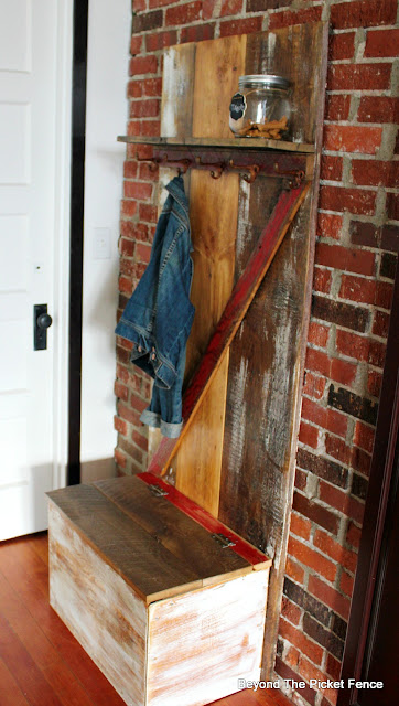 reclaimed wood, minwax, barn door, rust, hardware, hooks, coat hook storage, organization, http://bec4-beyondthepicketfence.blogspot.com/2016/04/barn-door-hall-tree.html