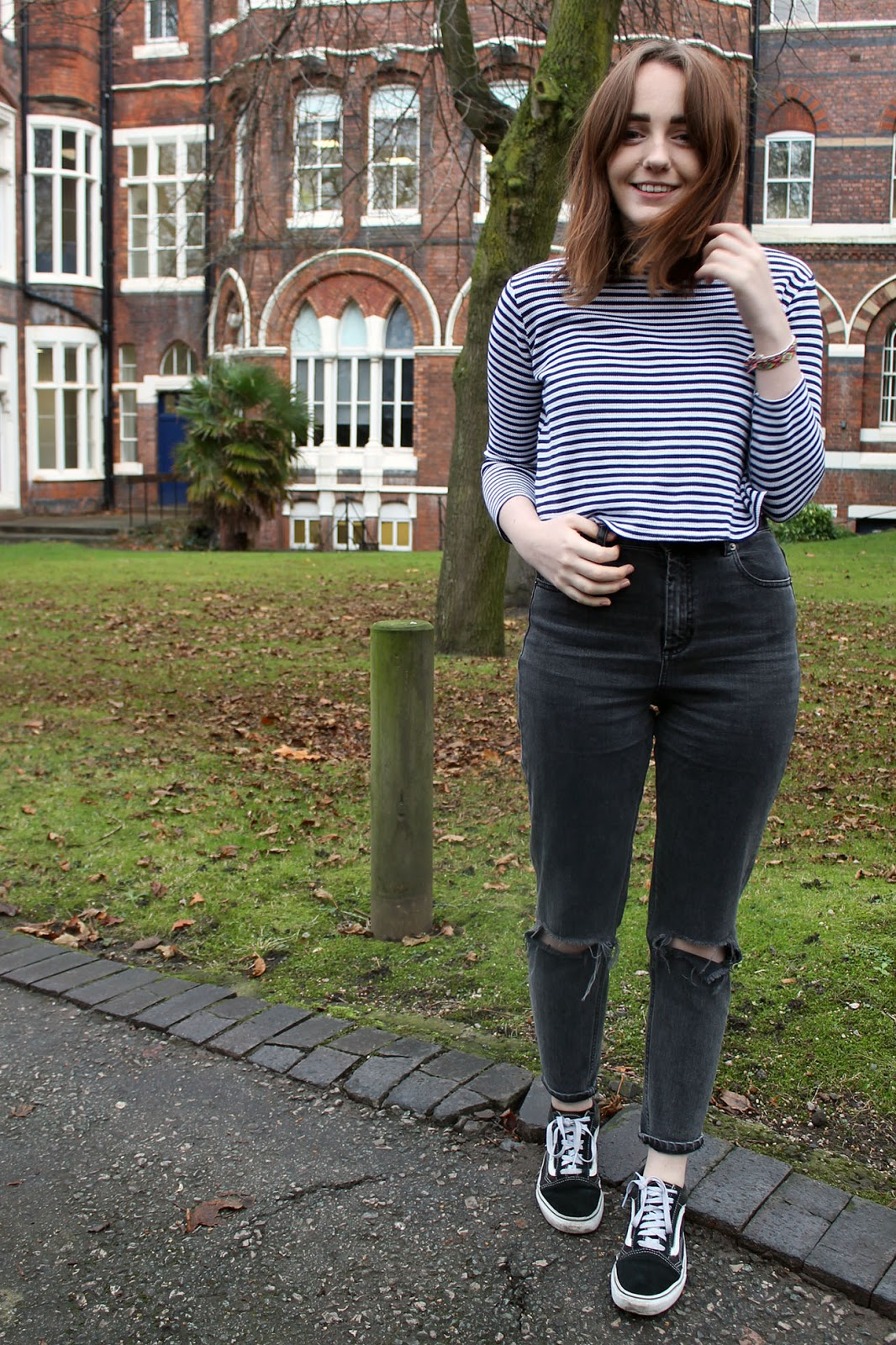 ASOS farleigh jeans, washed black wash with busted knees